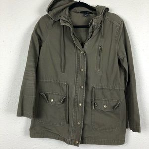 Forever 21 Military Green Utility Jacket Hooded S